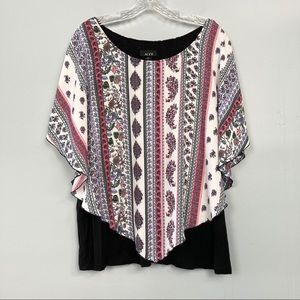 Alyx Double Layer Floral Butterfly Sleeve Boho Top
